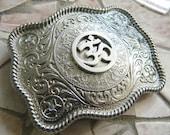 Yoga Silver Belt Buckle, Ohm Symbol Meditation Mantra, Aum, Festival, Indie Western Etched Mens Womens Belt Buckle, Custom Om Belt Buckle