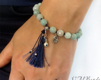Boho Amazonite Beaded Tassel Bracelet With Hamsa Hand And Evil Eye Sterling Silver Green Gemstone Chakra Jewelry Knotted Mala Gift For Her