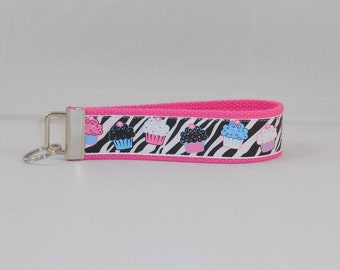 Adorable Keychain Wristlet Made with Zebra Cupcake Inspired Ribbon