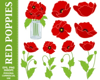 70% OFF SALE Digital Poppies Clip Art - Red, Green, Flowers, Mason Jar, Bouquet Clip Art