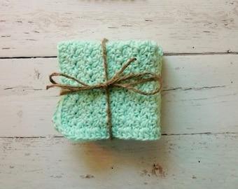 Large Mint Dishcloths / Washcloths / Crochet Dish Cloths / Crochet Washcloths