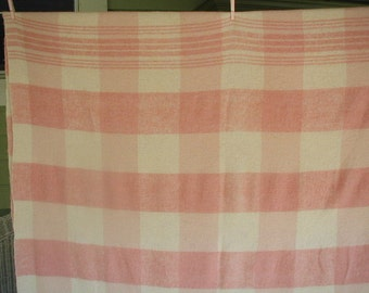 Vintage Woven Wool Plaid Blanket, Pink and White Blanket, Double Bed Size, 62 x 160 ""