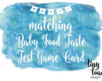 Baby Food Taste Test Game Card to match any item by tiny toad designs for baby shower, DIY Printable, digital file