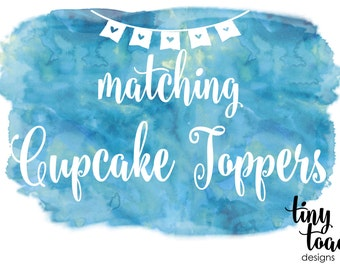 Cupcake Toppers to match any item by tiny toad designs for baby shower, bridal shower, birthday, wedding DIY Printable, digital file