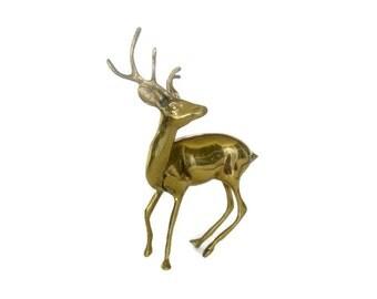 Brass Deer Buck Stag Sculpture Woodland Decor Mid Century Statue Vintage Figurine Antlers
