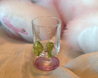 Green & Gold Murano Glass Earrings