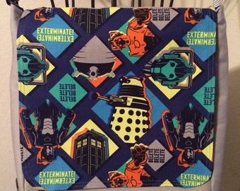 Small messenger bag made with licensed Doctor Who fabric
