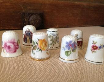 Vintage England Floral Bone China Thimble Collection ~ Set of 7 ~ Royal Golden Crown Coalport Queen Worchester