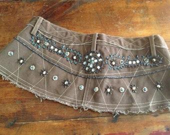 Vintage Beaded Gypsy Jean Top Belt ~ Boho ~ Turquoise Blue Brown Beadwork ~ Native American Style