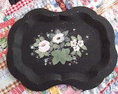 Hand Painted steel tray, vintage and very heavy