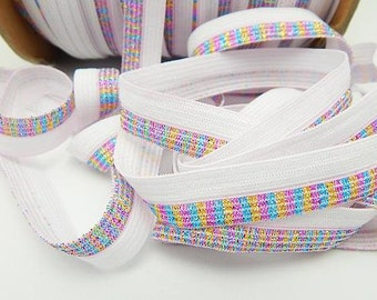 White Multi Color Glitter Fold Over Elastic - FOE -  5/8 Inch Glitter Elastic - High Quality Foldover Elastic -  Glitter Metallic Elastic