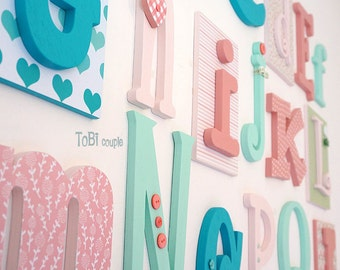 "Wooden Alphabet Letter Set  5"" - 10"" - Nursery Wooden Letters A-Z -Educational  letters --Playroom-Child room Decor-ABC Wall"