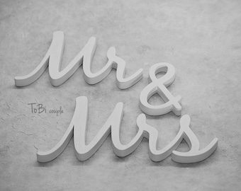 Wedding Sign MR & MRS, Wooden letters table decor, Wedding gift