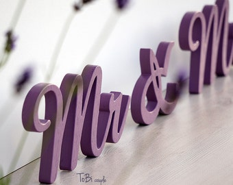 Purple Mr and Mrs Wedding Sign Mr & Mrs wooden letters table decor Wedding gift