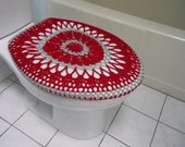 Crochet Toilet Seat Cover or Crochet Toilet Tank Lid Cover - red/light grey (TSC7C or TTL7C)