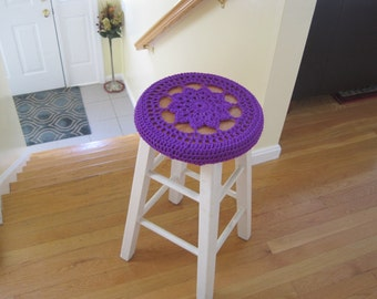 Crochet Bar Stool Cover/Cozy - purple (CBSC2B)
