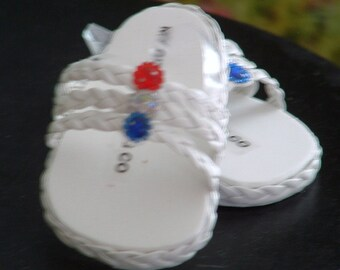 White Braided Sandals for American Girl Dolls