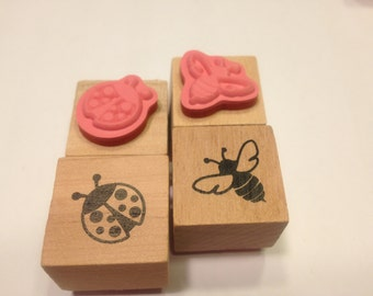 ladybug and bee rubber stamps, 22 mm (A11)