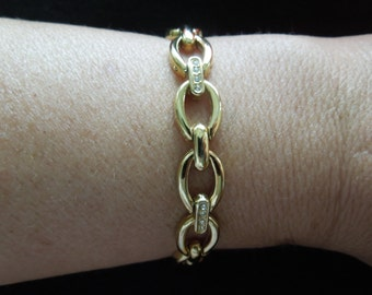 Vintage Gold Tone Bracelet with Clear Rhinestones.  7 Inches Long Plus Extender, Excellent Condition