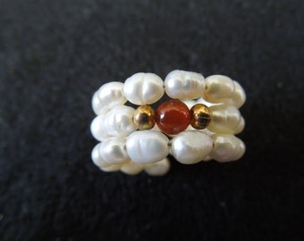 Hand Made Pearl Ring, Flexible Band, Cultured Pearls with Brown and Gold Tone Beads