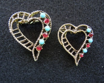 Vintage Gerry's Brooches, Matching, Gold Tone, Blue Stones and Rhinestones, Nice.  Will Separate.