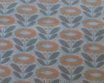 1/2 Yard Organic Cotton Fabric - Cloud 9 Fabrics, Morning Song, Lazy Daisy Coral