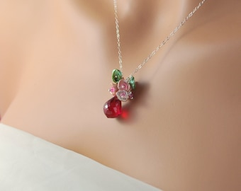 Gemstone Necklace, Red Topaz, AAA, Freshwater Keishi Pearl, Genuine Ruby, Sterling Silver, Flower Garden - Red Rose - Free Shipping