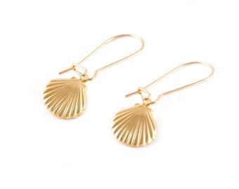 Gold Filled Shell Charm Earrings