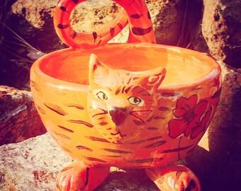 Orange Tabby Cat bowl  Handmade Ceramic