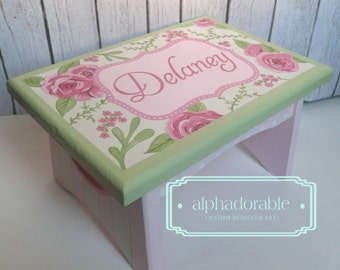 Artisan hand painted custom wooden step stool ~ Roses for Bella, rose floral pink and green theme