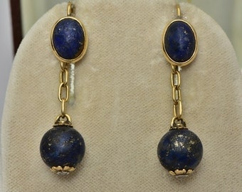 Victorian Russian lapis and diamond magnificent drop earrings
