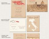 Destination wedding invitation Tuscany Florence Italy Wedding Invitation Suite - European bilingual wedding invitation - Deposit Payment