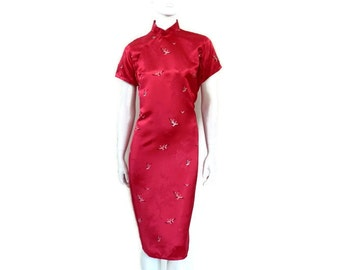 1950's Cheongsam Qipao Hot Pink Satin Brocade Dress with Flying Cranes Vintage Asian Dress