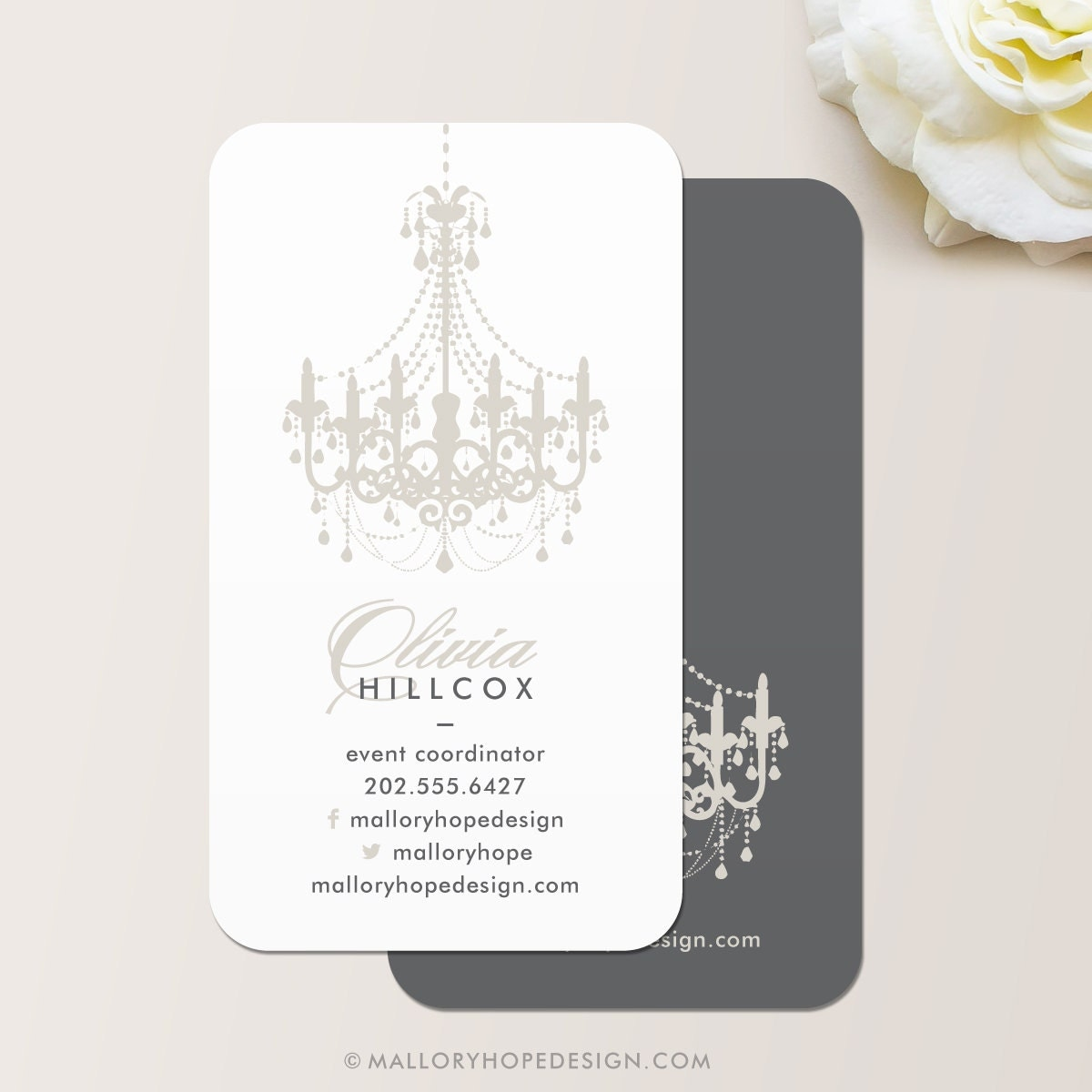 Chandelier business card calling card mommy card contact for Business calling cards