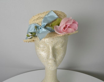 Vintage 1950s 50s Women's Hat with Pink Flower Turquoise Ribbon