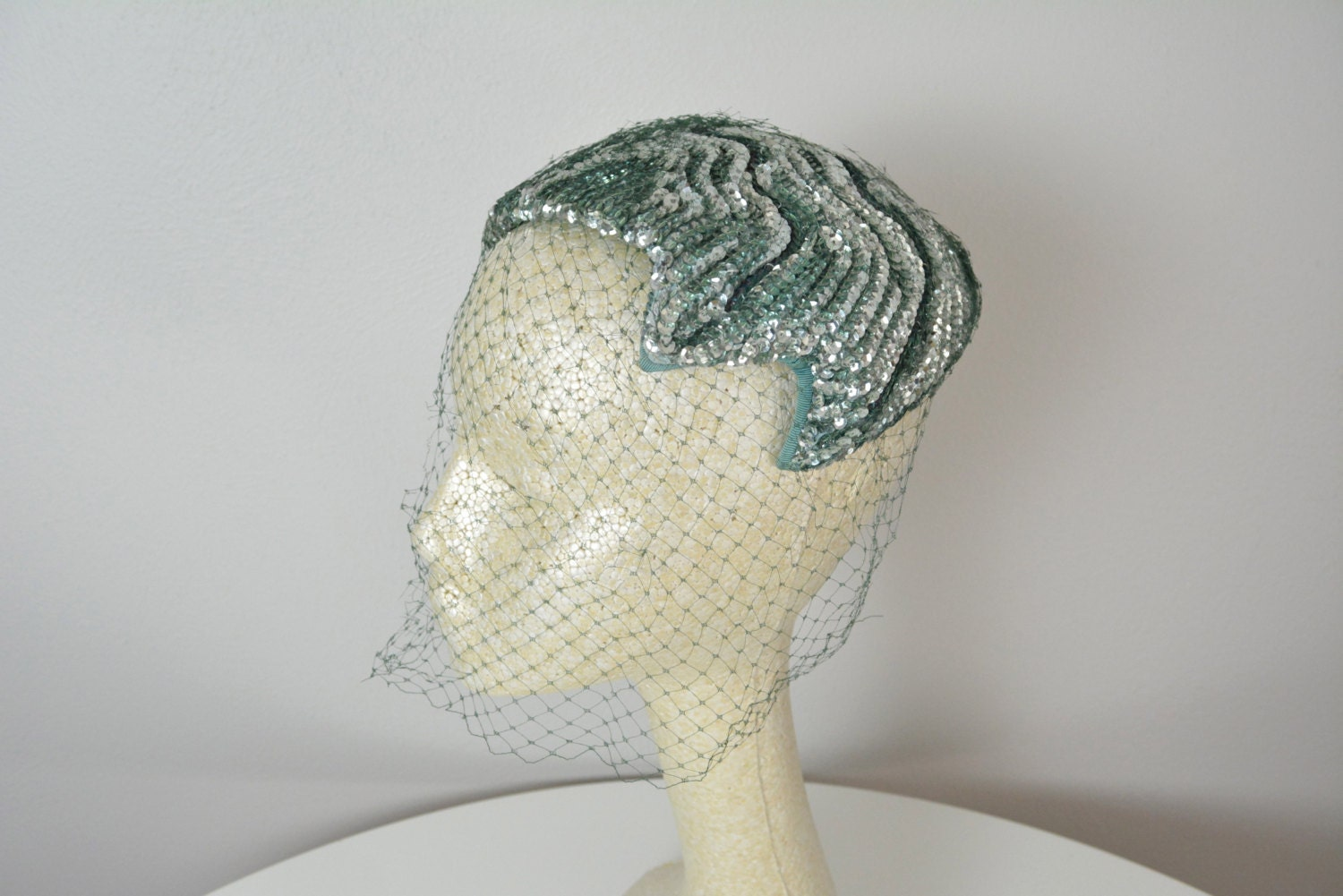 1950s green cocktail hat