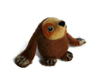 Needle Felted Sloth, Mini Sloth Plush Sculpture, 'Sally'