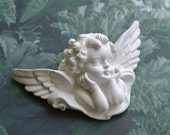 Antique sculpture / French vintage / Cottage chic / Romantic / Plaster Cherub Angel Wall Hanging decor