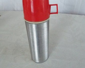 Vintage, Mid Century, Stainless Steel Ribbed Thermos With Red Cup, Space Age, Retro ,Mad Men