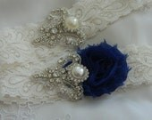 Wedding Garter-Navy Blue  Garter Set - Rhinestone Garter - Applique Garter - Vintage - Bridal Garter - Vintage Garter