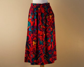 Bright summer skirt with a colorful abstract pattern
