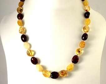 Baltic Amber Necklace Mixed colors Olive Shape Beads 50 cm 20 inches
