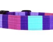 Pink Purple Striped Dog Collar/ Girl Dog Collar/ Pet Collar: Princess Hashmark