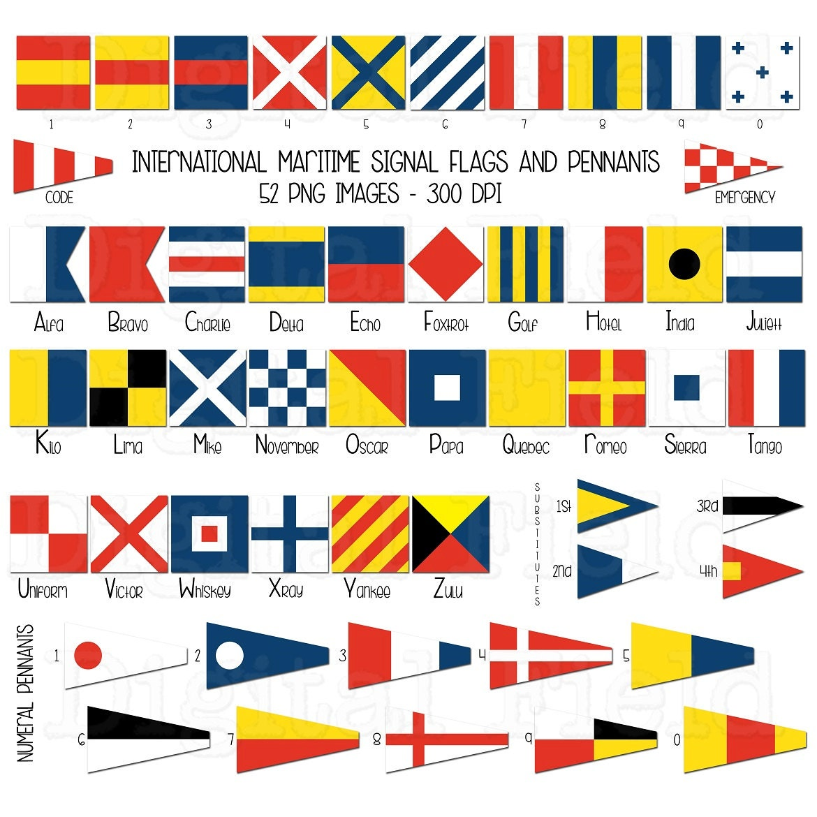 international maritime signal flags and pennants clip art set nautical printable digital clipart instant download