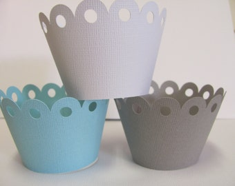 Cupcake wrappers, Light blue, gray, white cupcake wrappers, Set of 12 wrappers, Baby Shower decorations, Birthday Party, Wedding Decorations