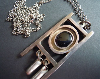 Geometric Sterling Silver and Black Onyx Necklace Vintage