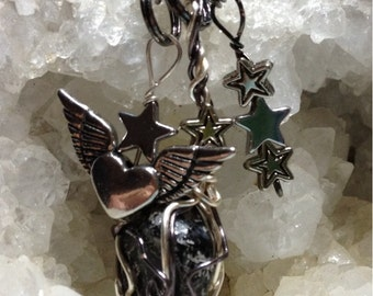 Apache Tear Divinity necklace with silver and gunmetal wire by Rockin' Crystals