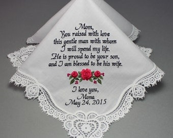 Mother of Groom Embroidered Personalized Wedding Handkerchief (#9031)