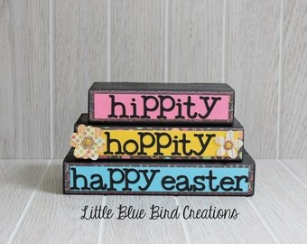 Happy Easter stacked wooden blocks-home decor-holiday-easter-spring