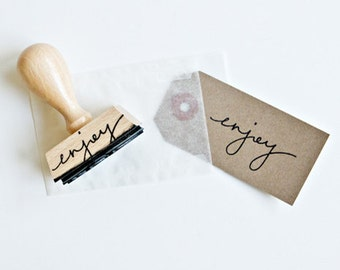 Enjoy Rubber Stamp - hand lettered rubber stamp - enjoy stamp - gift tag stamp - packaging stamp - gift stamp - calligraphy - K0014